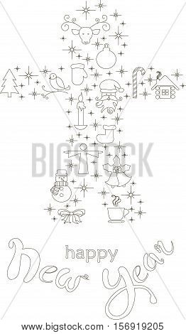Typography banner with stylized black gingerbread and hand drawing lettering Happy New Year on white, stock vector illustration
