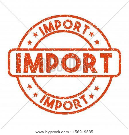 red import stamp over white background. import and export design. vector illustration