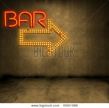 Bar signs on a grungy concrete wall in a dark alley