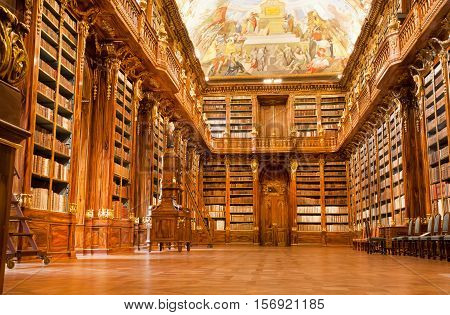 PRAGUE, CZECHIA - MAY 17, 2014: Big Philosophical room of the historic library in the old building of Strahov monastery on May 17, 2014 in Czech Republic. Philosophical Hall was built in 1784 by Jan Ignaz Palliardi