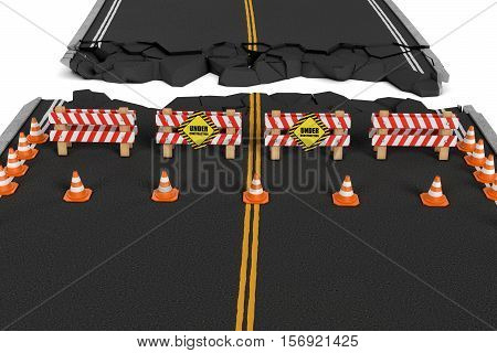 3d rendering of a road closed with the barriers, traffic cones, and caution signs due to roadworks diversion. Asphalting and concreting. Road repair service. Under construction. Construction site.