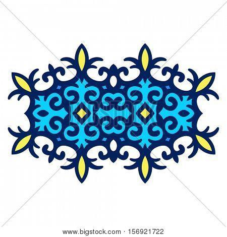 Kazakh oval ornament, Isolated design element, Vector illustration