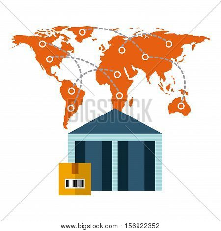 world map and warehouose with a box over white background. import and export design. vector illustration
