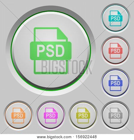 PSD file format color icons on sunk push buttons