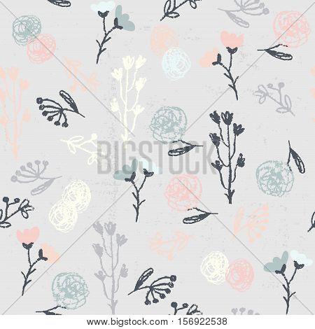 Vector doodle seamless patterns.Hand-drawn pencil pattern with branches and flowers on a textured background. Endless background can be used for printing fabric and paper or invitation.