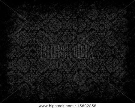 Grungy black floral wallpaper with vignette