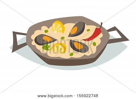 Paella with seafood vector illustration. Traditional spanish food. Spanish cuisine. Paella with mussels lemon red pepper and green peas. Isolated on white background cartoon style