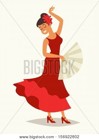 Flamenco dance vector illustration. Women in traditional red dress. Lady with flamenco fan. Spanish dance drawing card. Isolated on white background cartoon style