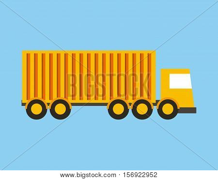 yellow cargo truck vehicle over blue background. vector illustration