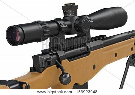Rifle sniper with lens optical scope, close view. 3D rendering