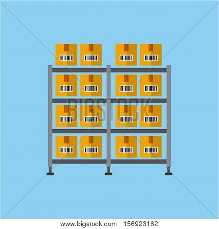 shelf with carton  boxes over white background. colorful design. vector illustration