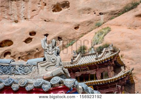 Roof Detail At Horse's Hoof Temple, Mati Si, China