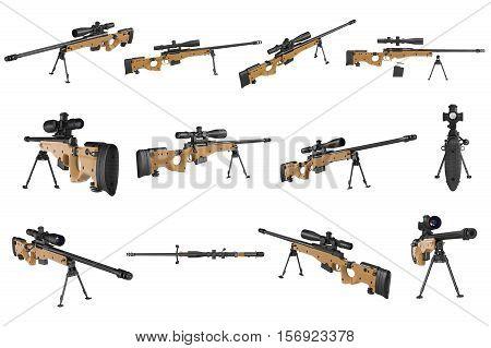 Rifle sniper beige weapon black metal set. 3D rendering