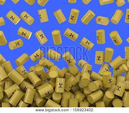 3D rendering of toxic waste falling from above. Blue background to simplify the compositing