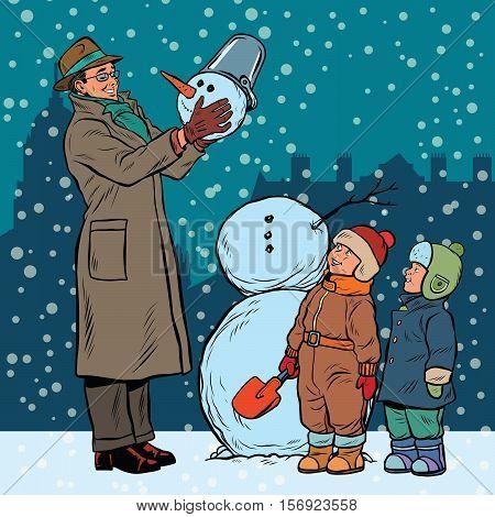 Children and male mold snowman, pop art retro vector illustration
