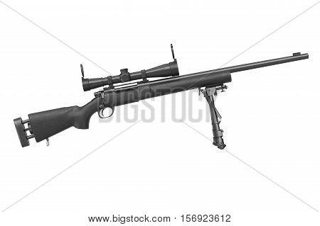 Rifle sniper metal hunting shotgun, side view. 3D rendering
