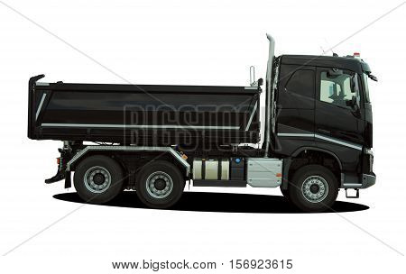 big tipper truck on the white background