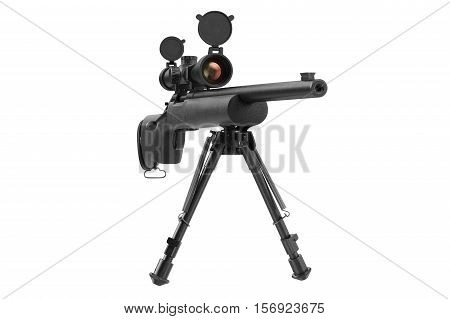 Rifle sniper aiming gun with optical scope, front view. 3D rendering