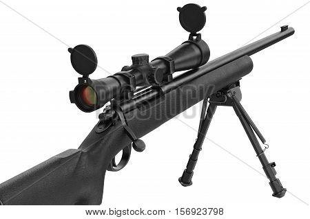 Rifle sniper modern metal optical gun, close view. 3D rendering