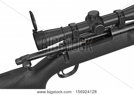 Rifle sniper modern military equipment, close view. 3D rendering