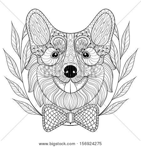 Zentangle Welsh Corgi with bow tie in wreath, doodle style. Hand drawn puppy, vector Dog face illustration for adult antistress coloring page, book, art therapy, for logo, t-shirt print, tattoo.
