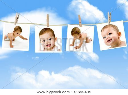 Photos of an adorable baby hanging on a clothes line against a cloudy sky
