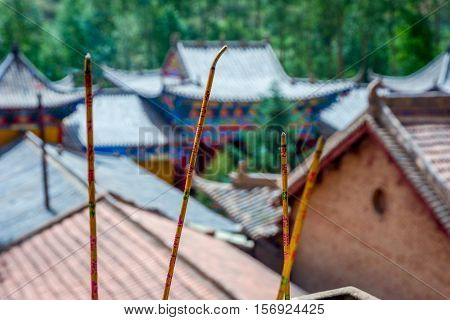 Incense Sticks At Horse's Hoof Temple, Mati Si, China