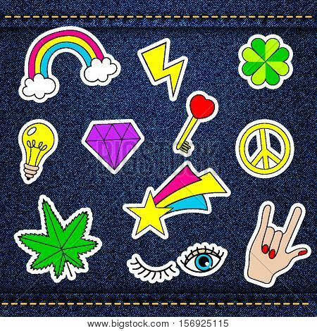 Vector happy patches, retro badges with lucky clover, heart, star, diamond, eye, rainbow, key, light bulb, cannabis over denim jeans texture with strings and seams. Cute stickers, pins for embroidery