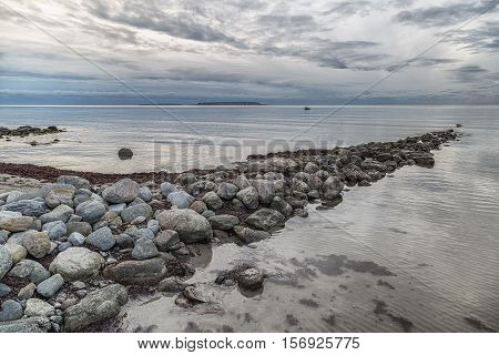 Ocean with Rocks and Clouds with Lilla and Stora Karlsö in the distance.