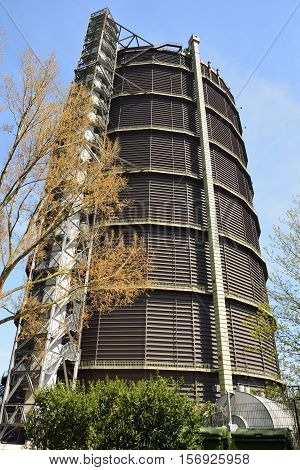 Oberhausen, Germany - April 21, 2016. Gasometer Oberhausen once stored gas to power blast furnaces. It has now been converted into one of most exciting and popular art and exhibit spaces in Germany.