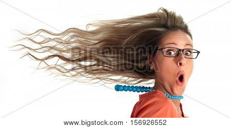 Happy woman hair.