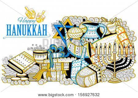 illustration of Happy Hanukkah, Jewish holiday background