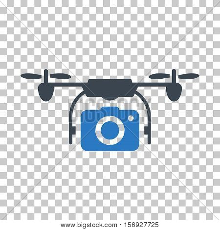 Camera Drone EPS vector pictograph. Illustration style is flat iconic bicolor smooth blue symbol.