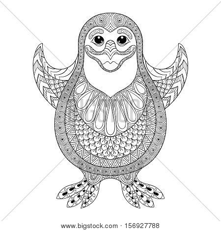 Zentangle stylized Penguin.  Vector the cheerful penguin wants to embrace. Hand Drawn illustration for adult coloring books, isolated on white background. Sketch for tattoo, postcards