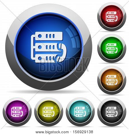 VoIP call coins icons in round glossy buttons with steel frames