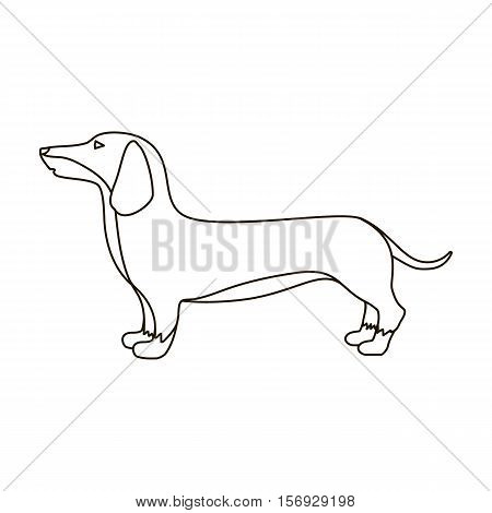 Dachshund icon in outline style isolated on white background. Dog breeds symbol vector illustration.