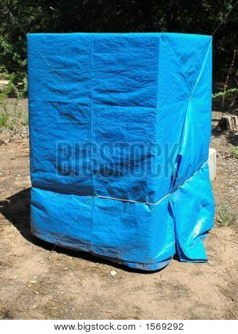 Blue Tarp Covered Crate 181