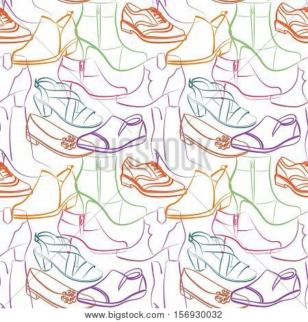 Vector seamless pattern of various women s shoes