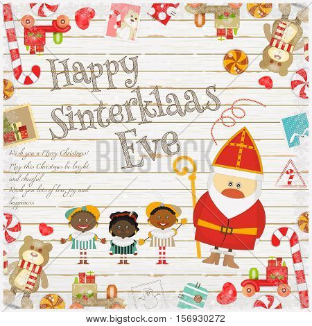 Cartoon Sinterklaas or Saint Nicholas - Dutch Santa Claus and Pete on White Wooden Background. Christmas in Holland.Vector Illustration.