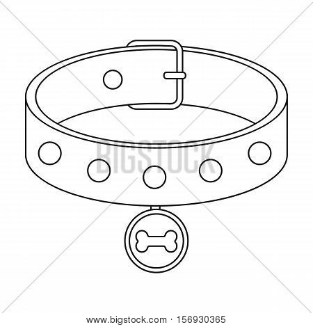Dog collar icon in outline style isolated on white background. Dog symbol vector illustration.