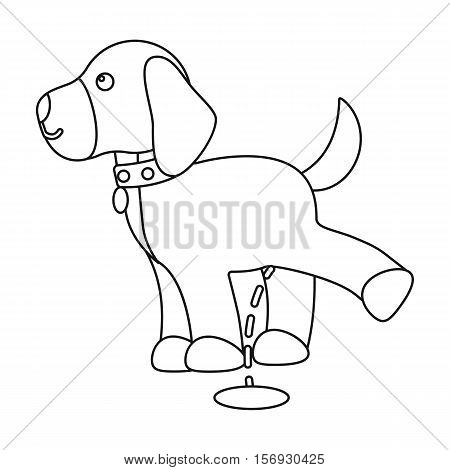 Pissing dog icon in outline style isolated on white background. Dog symbol vector illustration.