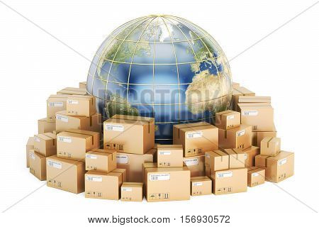 Global shipping and delivery concept parcels cardboard boxes with Earth. 3D rendering isolated on white background