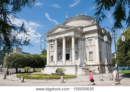 Como Italy - 2016 August 17 : The museum of Como called Volta Temple and dedicated to the scientist Alessandro Volta who invented the electrical battery