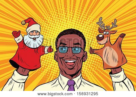 Happy dad, a Christmas puppet theater, pop art retro vector illustration. Santa Claus and reindeer