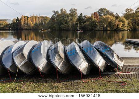 Optimist aluminum hulls in the Erdre river (Nantes, France)
