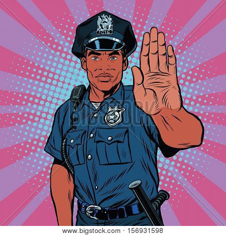 Retro police officer stop gesture, pop art retro vector illustration. Law and order. African American people