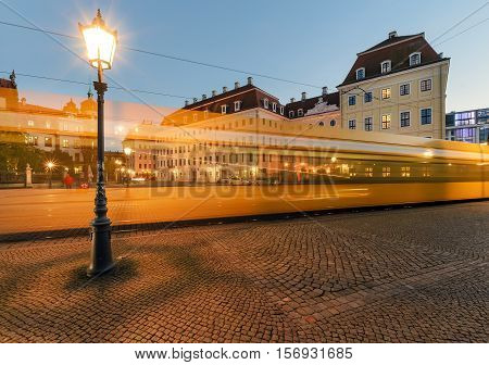 Lantern in old town of Dresden with the tram trails in the evening. Germany Europe.