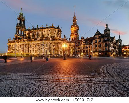 Ancient architecture in old town of Dresden in the evening. Germany. Europe.