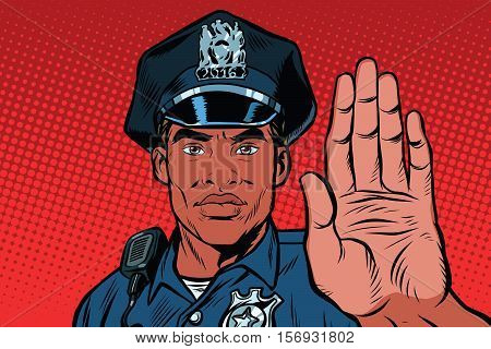 Retro police officer stop gesture, pop art retro vector illustration. Law and order. African American people. Close-up