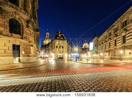 Architecture in old town of Dresden with light trails in the evening. Germany. Europe.